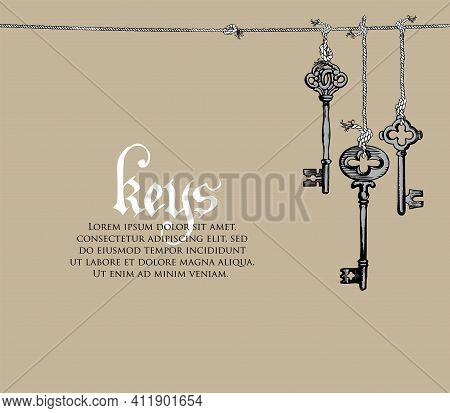 Vintage Banner Or Background With An Old Keys And Place For Text On A Beige Backdrop. Vector Illustr