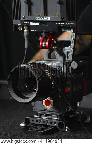Kyiv, Ukraine - 04.17.2020: Studio Shoot Of Professional 5K Video Camera Red Dsmc2 With Lens Leica Z