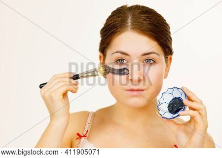 Woman Being Apply Black Carbo Mask To Face