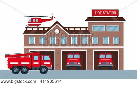 Fire Station Building Exterior With Fire Engine Trucks And Helicopter. Fire Department House Facade