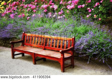 A bench in a flowery park in the spring