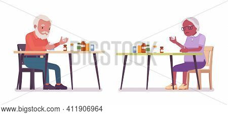 Old Man, Woman Elderly Person Sorting Medicines, Pill Bottles. Senior Citizens Over 65 Years, Retire