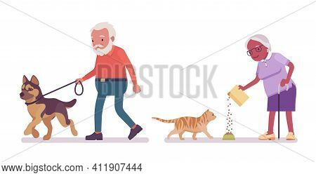Old Man, Woman Elderly Person Feeding Cat, Walking With Dog. Senior Citizens Over 65 Years, Retired