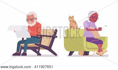 Old Man, Woman Elderly Person Sitting In An Armchair. Senior Citizens Over 65 Years, Retired Grandpa