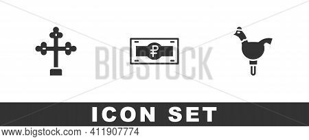 Set Christian Cross, Russian Ruble Banknote And Cockerel Lollipop Icon. Vector