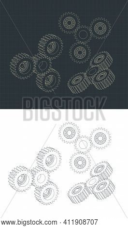 Stylized Vector Illustration Of Planetary Gear System Drawings