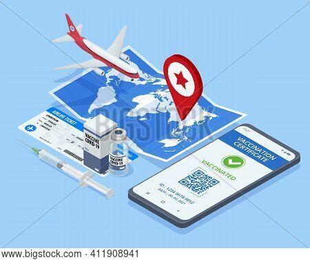 Isometric Air Travel World Globe Airline Tickets. Mobile Phone With Immune Digital Health Passport F