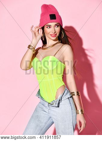 Fashionable Studio Portrait Of Pretty Young Hipster Brunette Girl With Bright Sexy Makeup, In Stylis