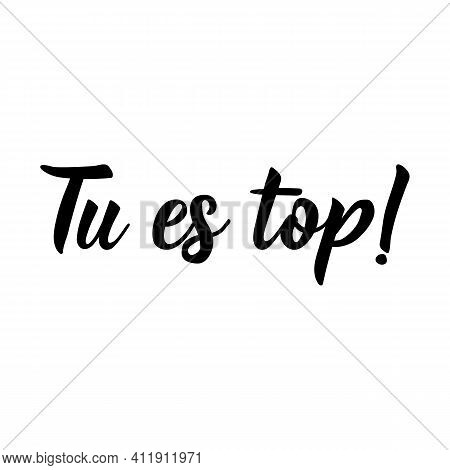 You're Top - In French Language. Lettering. Ink Illustration. Modern Brush Calligraphy.