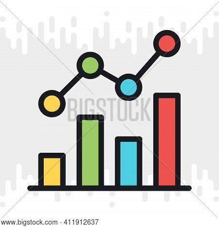 Line Chart, Graph Or Diagram Icon. Simple Color Version On A Light Gray Background