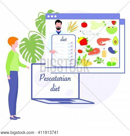 Vector Illustration Nutrition Consultant Online Explains Pescatarian Diet To Human. Organic Meal Pla