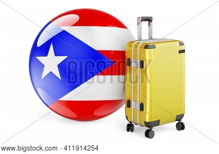 Suitcase With Puerto Rican Flag. Puerto Rico Travel Concept, 3d Rendering Isolated On White Backgrou