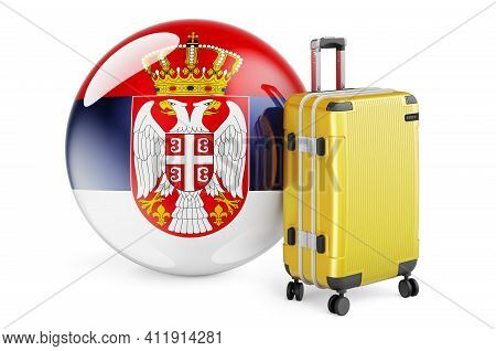 Suitcase With Serbian Flag. Serbia Travel Concept, 3d Rendering Isolated On White Background
