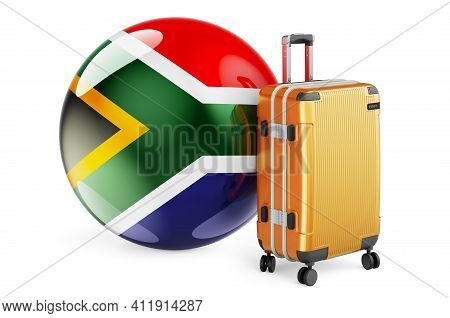 Suitcase With South African Flag. South Africa Travel Concept, 3d Rendering Isolated On White Backgr