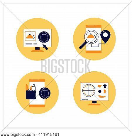 Online Food Flat Icons Set. Dark Store, Pizza Constructor Online, Food Map, Shopping. Shopping Appli