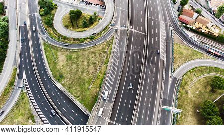 Aerial View Of Highway In City. Clip. Cars Crossing Interchange Overpass. Highway Interchange With T