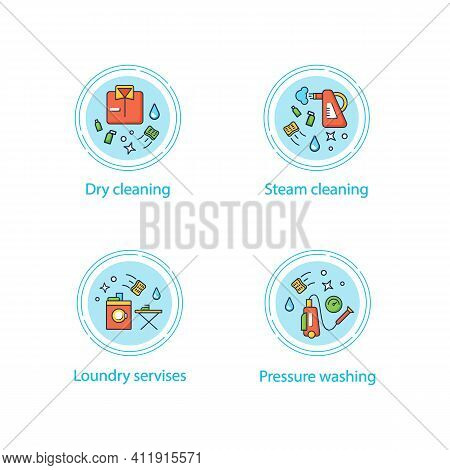 Cleaning Services Concept Icons Set.consists Of Dry Cleaning, Laundry, Steaming, Pressure Washing. C