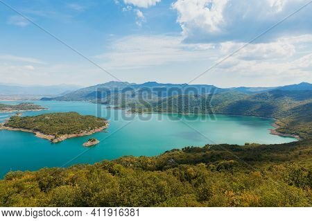View Of Lake Skadar From The Heights. Colorful Landscape From Mount On A Sunny Day In Montenegro