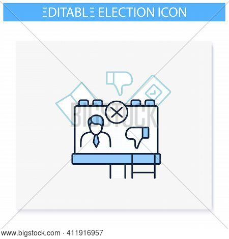 Negative Ad Line Icon. Election Campaign, Black Pr, Propaganda. Choice, Vote Concept. Democracy. Par