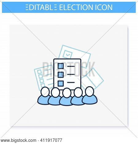Electoral College Line Icon. Election Commission. Voters. Choice, Vote Concept. Democracy. Parliamen