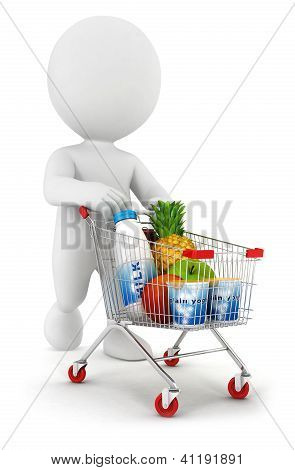 3d white people with a shopping cart