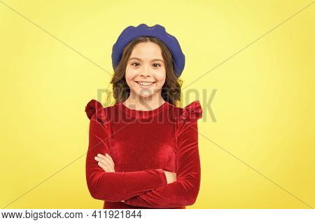 Her Perfect Style. Parisian Kid Wear Red Dress. Elegant Look Of Child. Kid Fashion And Beauty. Since