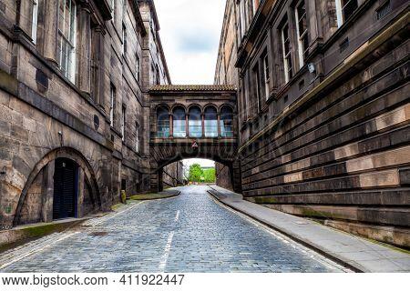 Street in the Old Town of Edinburgh Scotland