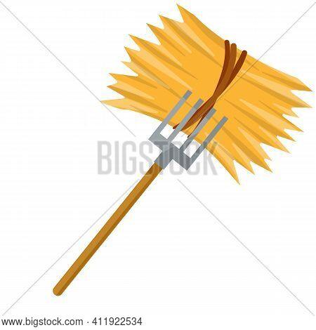Yellow Haystack And Hayfork. Cartoon Flat Illustration. Rustic Sheaf. Countryside Harvest Of Crop. O