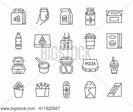 Take Away Food And Drink Thin Line Icon Set. Fast Food Package. Delivery Service Vector Collection.