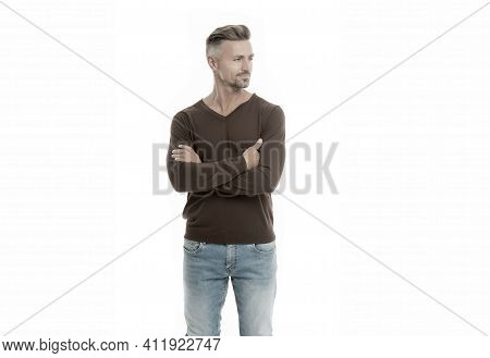 Man Looks Handsome In Casual Style. Guy Wear Casual Outfit. Fashion For Daily Life. Fashion Concept.