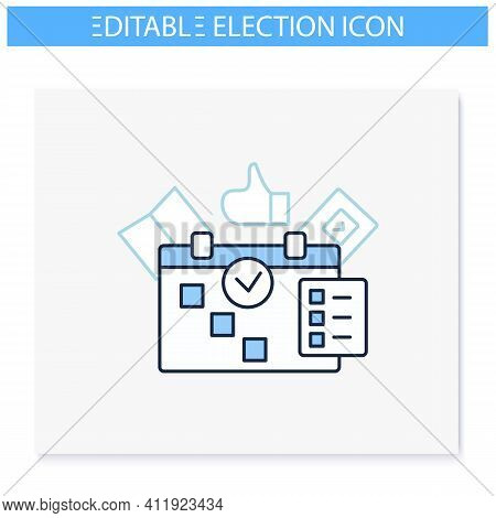 Election Day Line Icon. Vote Date Calendar, Reminder. Choice, Election Concept. Democracy. Parliamen