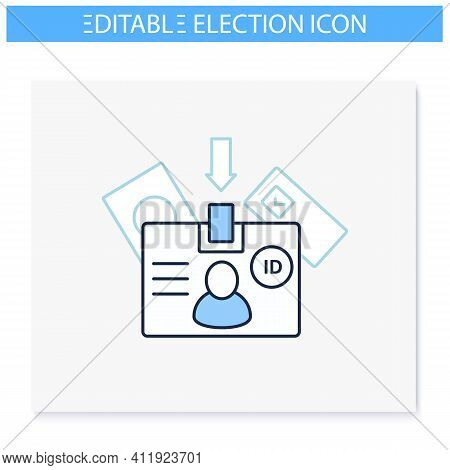 Voter Id Line Icon. Verified Voter. Social Security Card Number. Choice, Vote Concept. Democracy. Pa
