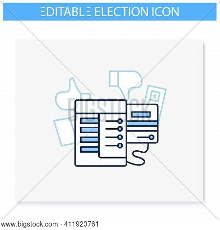 Voting Machine Line Icon. Modern Automated Evm. Election Equipment. Electronic Vote. Choice, Vote Co