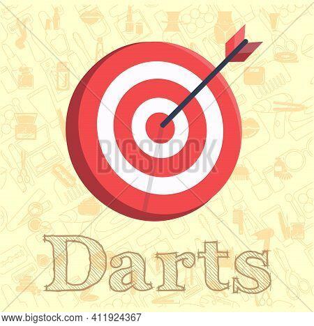 Target Icon. Dart Board. Archery Board Vector Flat Illustration, Dart Business Vector Illustration