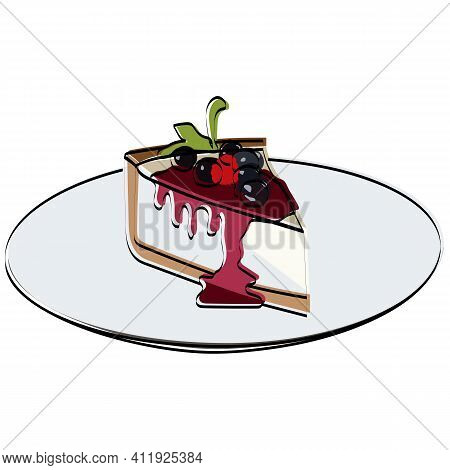 Slice Of Cheesecake With Berries And Mint. Vector Illustration.