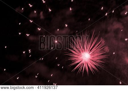 Beautiful Red Big Bang Science Object With Glowing Core. Scientific Artificial Scene In Microcosm Or