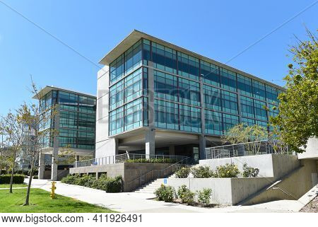 IRVINE, CALIFORNIA - 22 APRIL 2020:  Medical Education Buildings on the Campus of the University of California Irvine, UCI.