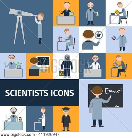 Scientists Character Icon Set With Mathematician Explorer Chemist Physicist Avatars Isolated Vector