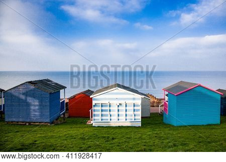 row of beach huts in Tankerton, UK