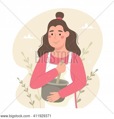 Happy Woman In Apron Knocks Baking Ingredients In A Bowl.  Hand Drawn Vector Illustration. Cozy Mood