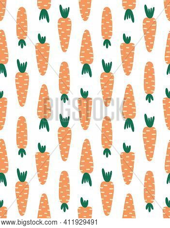 Seamless Pattern With Carrots, Carrots On White Background, Vector Illustration, Cute Easter Pattern