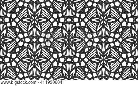 Repeat Flower Seamless Pattern. Black And White Limitless Background. Abstract Floral Geometric Hexa