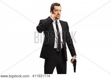 Bodyguard with a gun isolated on white background copy