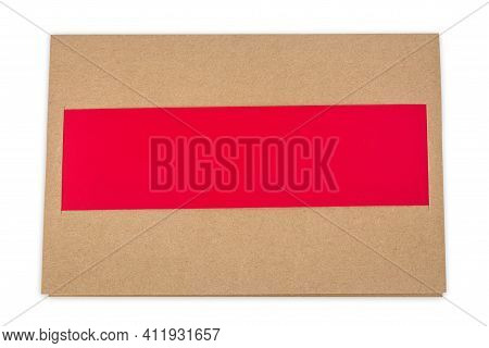 Beige Greeting Card With Red Insert Over White Background