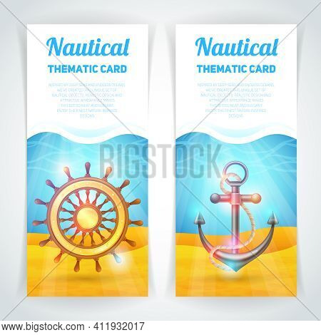 Marine Vertical Banner Set With Sailing Symbols Thematic Card Isolated Vector Illustration