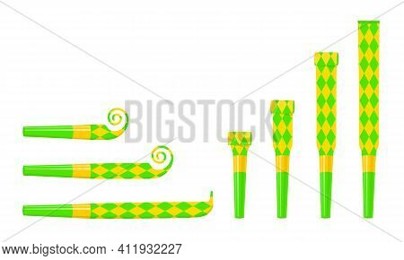 Rolled And Unrolled Party Blowers, Horns, Noise Makers. Green And Yellow Sound Whistles With Rhombus