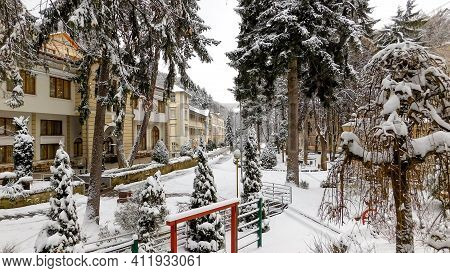 Idyllic Winter Scene With Snow, Spa In The Mountain, Central Serbia