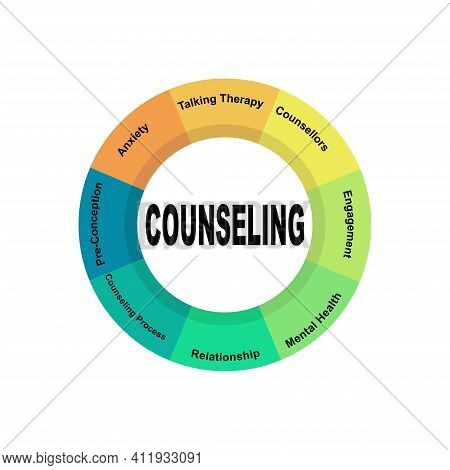 Diagram Concept With Counseling Text And Keywords. Eps 10 Isolated On White Background