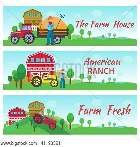 Tractor Driver Banners Horizontal Set With Farm House American Ranch Flat Elements Isolated Vector I