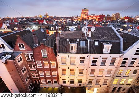 Amsterdam; Netherlands view of the cityscape from De Pijp at dusk.